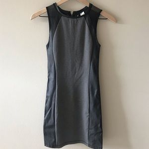 Heather Grey + Faux-leather Paneled Bodycon Dress